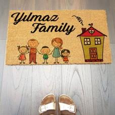 Aile Figürlü Karikatürlü Paspas