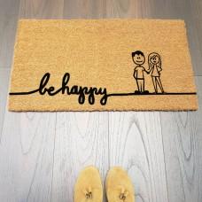 be happy Çift Figürlü Paspas