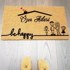 Çatılı Be Happy Siyah Aile Figürlü Paspas