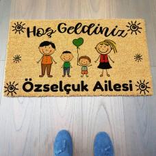 Desenli Renkli Aile Figürlü Kişiye Özel Paspas
