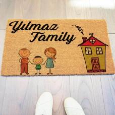 Ev ve Aile Figürlü Kapı Önü Paspası