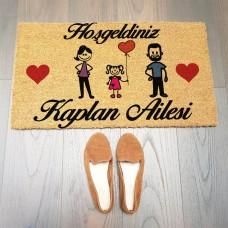 Kalpli Aile Figürlü Paspas