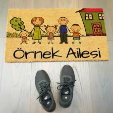 Renkli Aile Figürlü Kapı Önü Paspası
