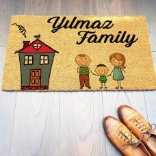 Renkli Ev ve Aile Figürlü Paspas Modeli